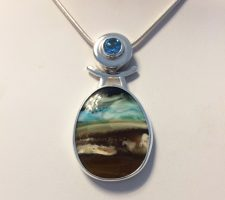 java opal necklace with blue topaz