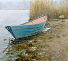 painting of a boat on the water's edge by artist Elizabeth R. Whelan